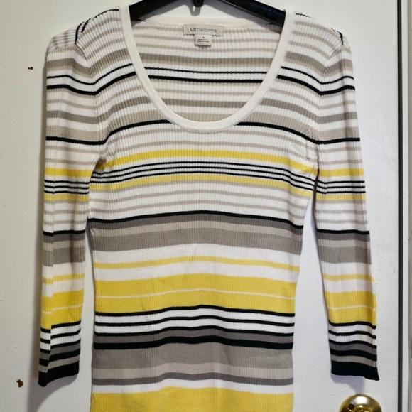 Liz Claiborne Sweaters Yellow White Black Striped Sweater Poshmark